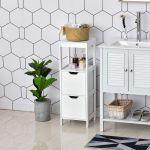 Kleankin Armário de Banheiro com Prateleira Aberta 2 Gavetas 30x30x89 cm Branco
