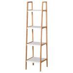 Kleankin Prateleira para Banheiro com 5 Níveis de Estrutura em Bambu Pinho 35x36x138.5cm Branco