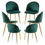 Conjunto 6 Cadeiras Vint Veludo Golden Verde