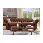 Vente Unique Sofá de 3 Lugares 100% Pele Envelhecida Castanho Estilo Chesterfield Clotaire