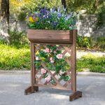 Outsunny Floreira de Treliça de Madeira Maciça Estante de Flores Plantas Trepadeiras 68x30x85,5 cm Marrom