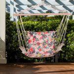 Outsunny Cadeira Suspensa Rede com Estampa Floral com Almofada Apoio de Cabeça 100x106 cm Máx. 105 Kg