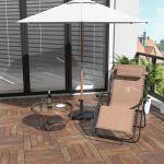 Outsunny Espreguiçadeira Dobrável de Jardim Cadeira de Gravidade Zero Poltrona de Praia Relaxante Textilene Estrutura de Aço Carga 150kg 90x65x110 Bege