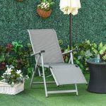 Outsunny Espreguiçadeira Dobrável para Jardim Cadeira Ajustável de 10 Posições com Encosto Alto e Apoio para Pés Carga Máx. 150 Kg 78x58x110 Cinza