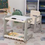 Homcom Conjunto de Mesa Conversível e Cadeira para Crianças Acima de 12 Meses com 3 Marcadores e 1 Borracha 65x48x66,7 Cinza e Branco