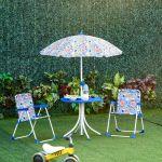 Outsunny Conjunto de Mesa Infantil Ø50x46 2 Cadeiras Dobráveis 39x38x52 e Guarda-sol Ajustável Ø100x100-125 para Crianças Acima de 3 Anos Azul