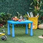 Homcom Mesa Infantil Retangular para Crianças Acima de 2 Anos com Pés e Arestas Redondas para Interior e Exterior Máx. 30 Kg 76,5x54,5x49,5 Azul