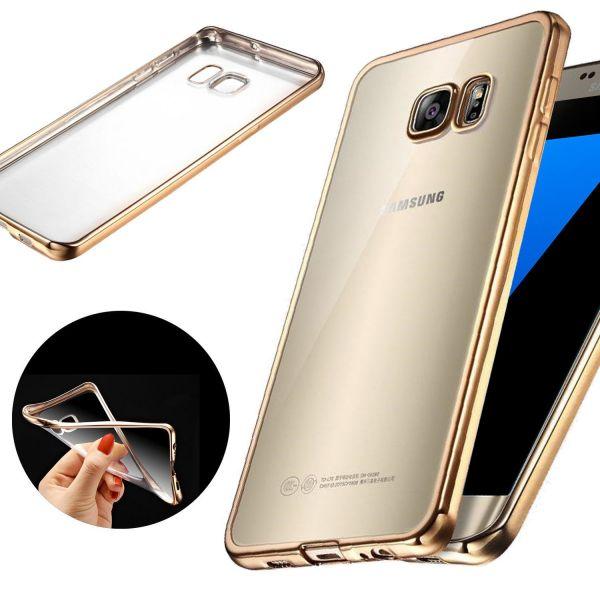0c82af760 Capa Ultra Slim Gel para Samsung S8 Plus Clear   Gold - KuantoKusta
