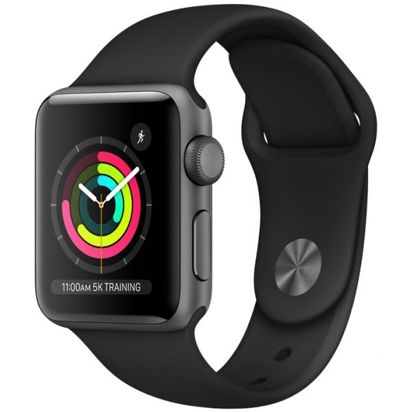 Smartwatch AppleWatch Series3 GPS 38mm Space Grey Aluminum Case with Black Sport Band - MQKV2QL/A