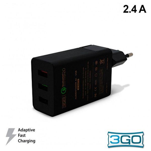 3GO Carregador Fast Charging 3x USB Black