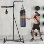 HomCom Sacos de Boxe com Suporte Ajustável 4 Níveis 166,5cm - 181,5cm Inclui Bola 104x156x202cm