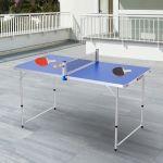 Outsunny Mesa de Ping-pong DobrávelAjustável de 3 Níveis com Pás e Bolas 160x80x54 / 62 / 70cm