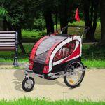 HomCom Reboque De Bicicleta Para Jr Com 2 Lugares E Roda 360º Vermelho - 440-001RD