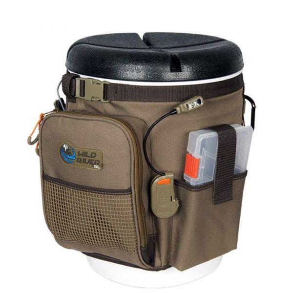 Wild River Rigger 5 Gallon Bucket Organizer W/lights, Plier Holder & Lanyard, 2 PT3500 Trays & Bucket W/seat - WT3507