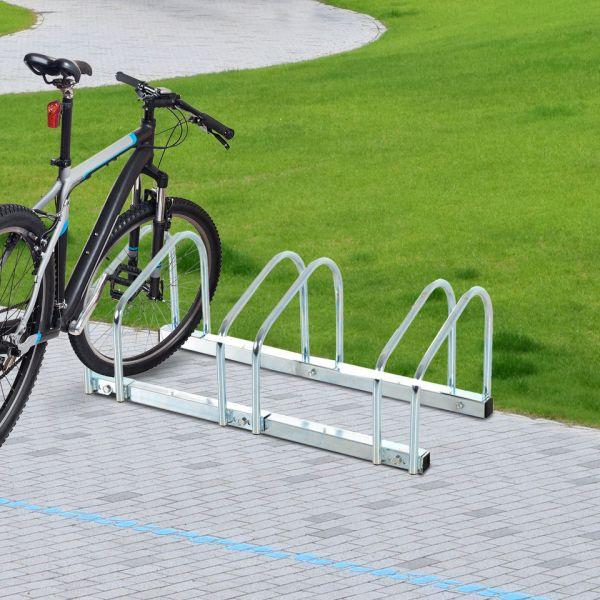 HomCom Estacionamento 3 Bicicletas Aço Prateado 70,5 x 33 x 27cm