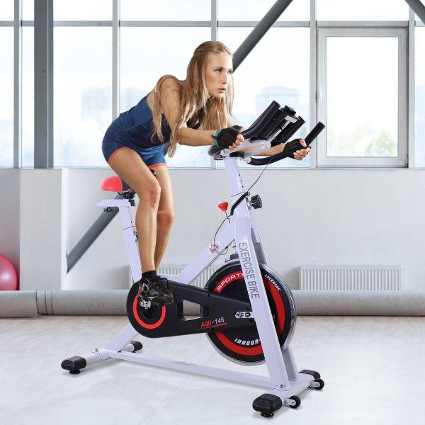 HomCom Bicicleta de Fitness Ajustável Ecrã LCD