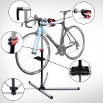 HomCom Suporte Tipo Cavalete para Reparação de Bicicletas Preto / Prateado - Aço - 100x56x190cm