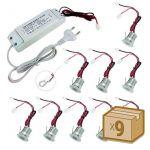 ledbox Iluminação de Vitrine Pack 9 X Foco LED Sun Mini 9x1w Regulável Branco Neutro