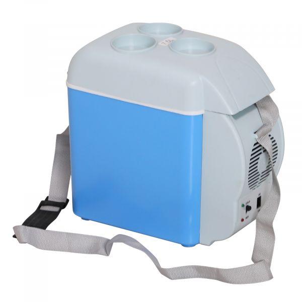 HomCom Mini Frigorífico Portátil 7,5L Azul e Cinza