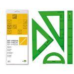LiderPapel Pack Esquadros, Régua 30cm e Transferidor Verde - JG01