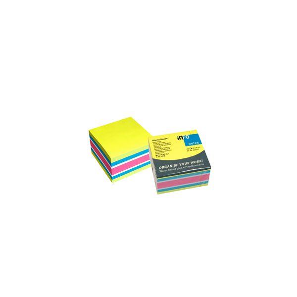 Info Notes Bloco Notas Adesivas Cubo Brilhante 75x75mm 450 Fls 4 Cores - 162565451