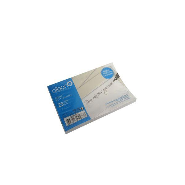 Alban 25 un. Envelopes de Papel Vegetal 92g 114x162 Pala Recta - 123Z29330
