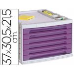 LiderPapel Módulo Classificador 6 Gavetas Translúcido Violeta - FM17