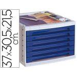 Q-Connect Módulo de Secretária 37x30,5x21,55cm 6 Gavetas + Organizador Azul - L43581