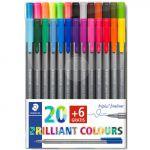 Staedtler Pack de 26 Canetas de Feltro Triplus Fineliner Multicolor - A26754050