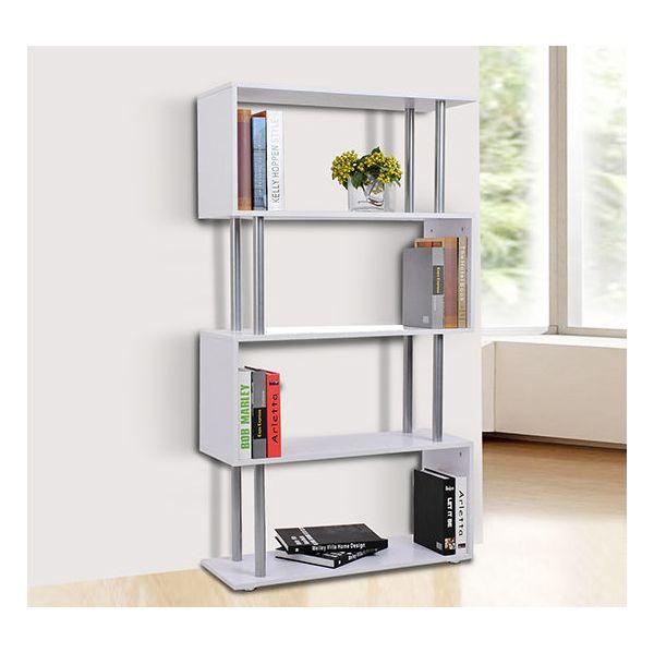 HomCom Mobiliário de Escritório Estante Branco Madeira e Metal 145 x 80 x 30 cm