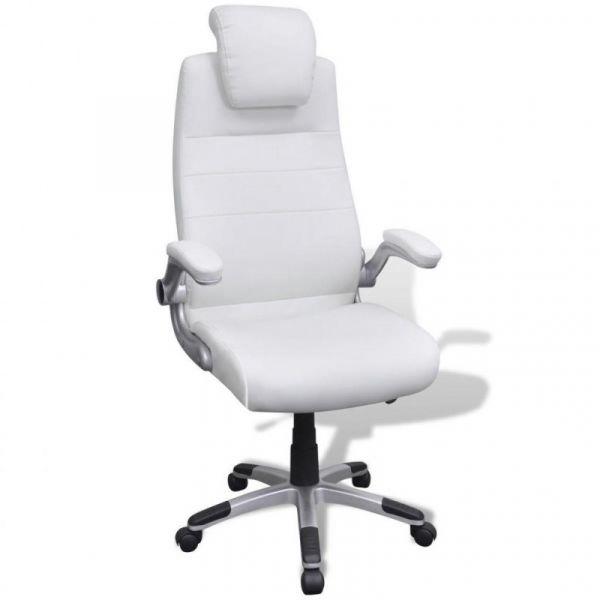 Cadeira de Escritório Ajustável de Couro Branco - 20090