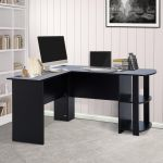 Mesa de Computador PC Escritório Forma L c/ Estantes Negro - 136.2x130.4x72cm