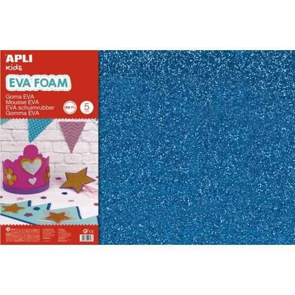 Apli Folha Eva Azul com Purpurinas 200x600x2mm 3un. - 13435