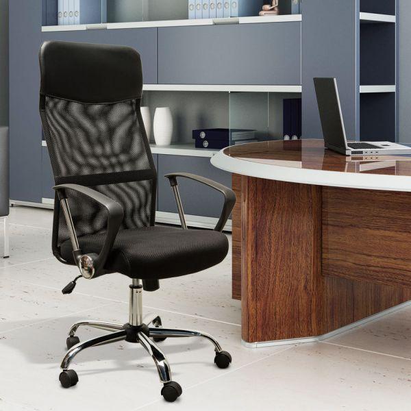 HM Cadeira de Escritório Ergonómica Tecido / Malha Preto - A2-0093