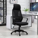 Vinsetto Cadeira Ergonómica Inclinável Ajustável 64x58x116-126 cm Preto