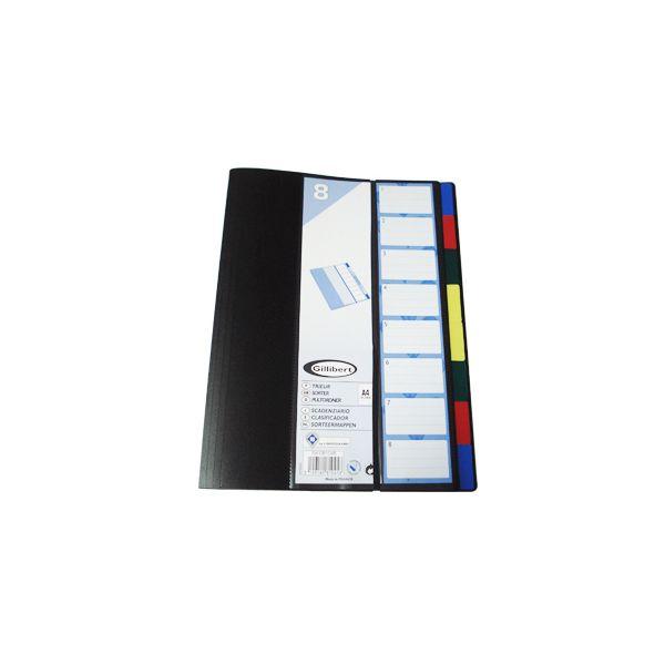 Pasta classificador a4 c/ elastico e 8 separadores sortidos (sme081045)