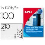 Apli Etiquetas Adesivas Resistentes Poliéster 210x297mm 100 Fls - 12121