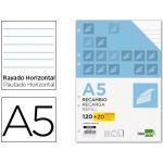 LiderPapel Recarga Papel A5 DIN Pautado s/ Margem 120+20 Fls - RE02