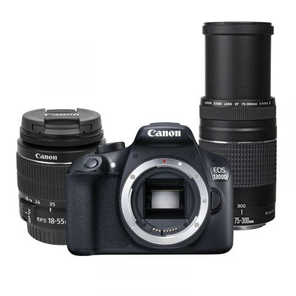 Canon EOS 1300D + 18-55mm f/3 5-5 6 EF-S IS II + 75-300mm f/4-5 6 EF III  USM Black