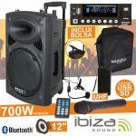 "Ibiza Coluna Amplificada 12"" 700W Black - PORT12UHF-BT"