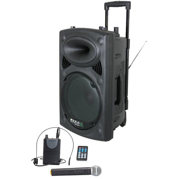 "Ibiza Coluna Amplificada 15"" 800W Black - PORT15UHF-BT"