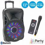 "Party Light & Sound Coluna Amplificada 12"" 700w Usb/fm/bt/sd/bat Vhf Black"