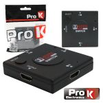 Prok Distribuidor Hdmi Amplificado 3 Entradas 1 Saída - PK-HDMI3E1S01