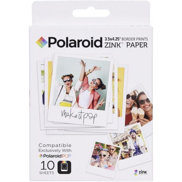 Polaroid Carga Zink 3x4 para POP - 10 Folhas