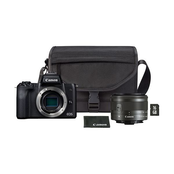 Canon EOS M50 + 15-45mm f/3.5-6.3 IS STM + Estojo SB130 + Cartão SD 16GB Black