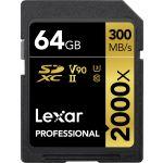 Lexar 64GB SDXC Professional UHS-II U3 V90 Class 10 (2000x) V2 - LSD0642000XV2