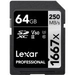 Lexar 64GB SDXC Professional UHS-II U3 V60 Class 10 (1667x) - LSD0641667X