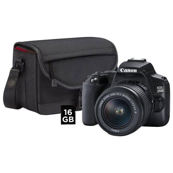Canon EOS 250D + 18-55mm DC III + Bolsa + SD 16GB