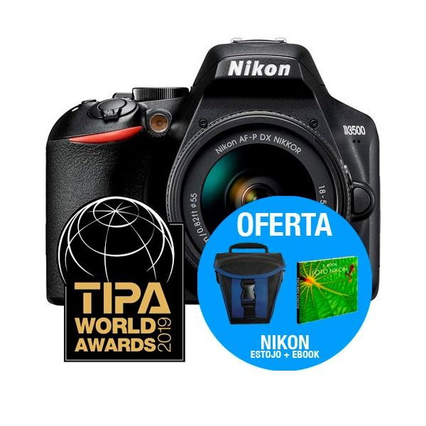 Nikon D3500 + 18-55mm f/3.5-5.6G AF-P DX VR + Estojo + eBook
