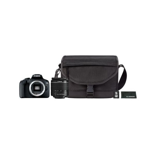 Canon EOS 2000D + 18-55mm f/3.5-5.6 EF-S IS II Black + Mala + SD 16GB + Pano Limpeza